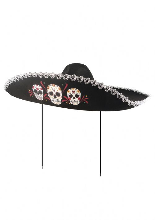 Adult Day of the Dead Sombrero Hat for Mexican Senor Halloween Fancy Dress Costume Accessories